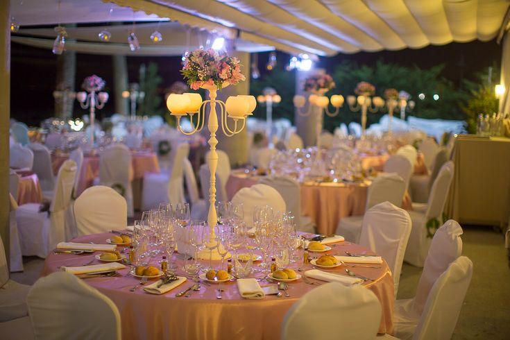 Wedding reception set up with centre piece's. Estrella del mar Beach Club.