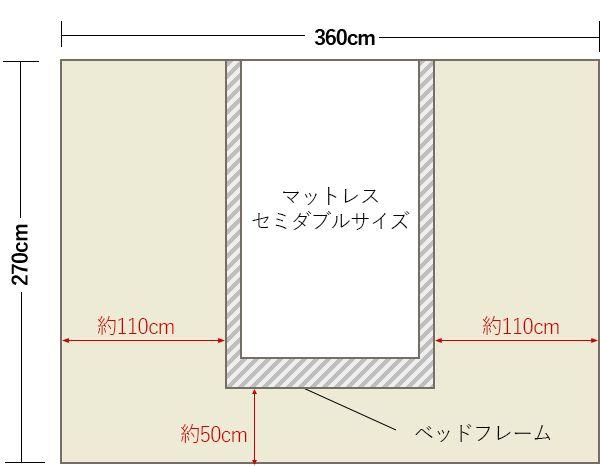 6畳の寝室の中央にセミダブルベッドレイアウト 4畳 6畳 寝室