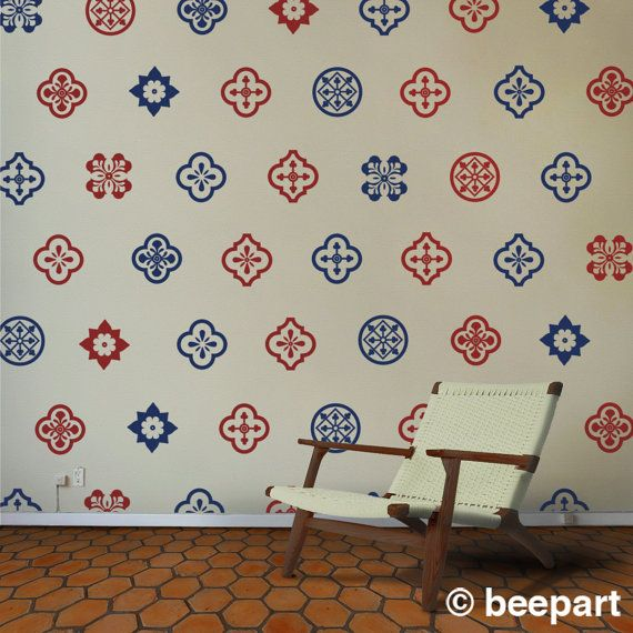 mediterranean wall decal set spanish pattern wall by beepart