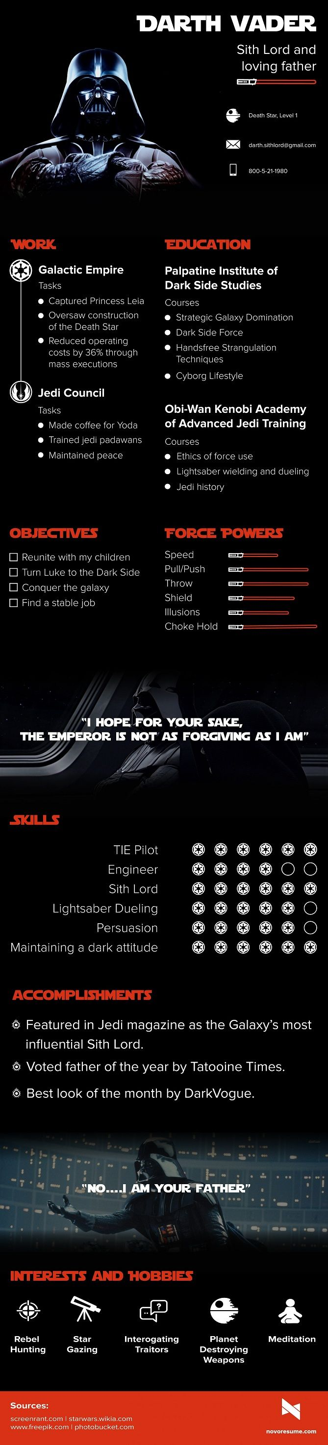 "Novoresume.com tarafından hazırlanan ""Darth Vader Sith Lord and loving father"" infografiği #film #sinema #özgeçmiş #resume #dizi #infografik #infographic #work #business #socialbusiness #kariyer #movie #starwars #darthvader #sithlord #father #jedi #force"