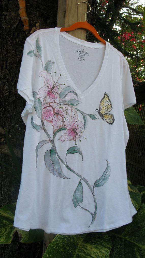 Handpainted Glitter Lily Cotten T-Shirt XXL/2XG