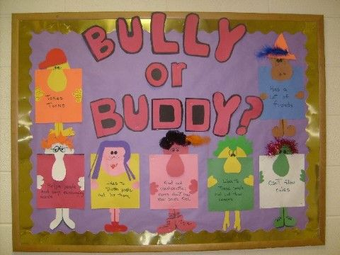 Bully or buddy board-- make interactive. Write different characteristics of each on paper then have flap to lift saying whether that is a bully or buddy trait.