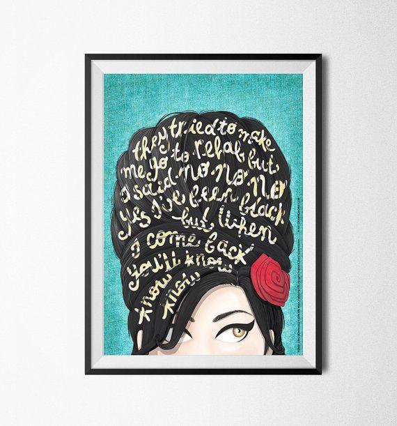 Illustrierte Auflage von Amy Winehouses Song Rehab. Dieser Tribut-Poster ist eine digitale Illustration mit ein Porträt des Künstlers und ihre Ikone