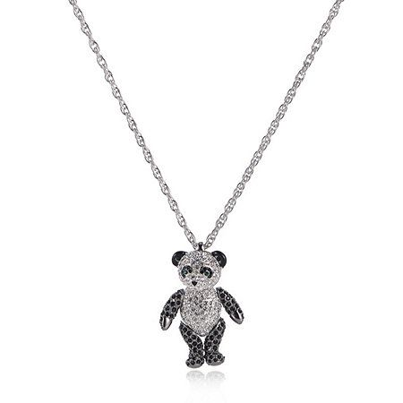 Bill Skinner Crystal Panda Pendant & 74cm Chain