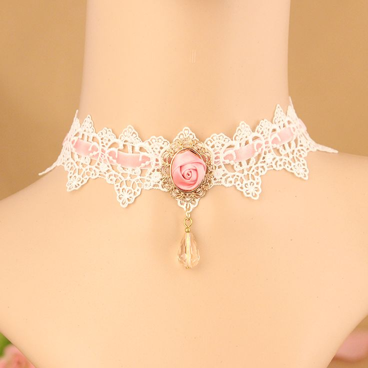 2016 New Fashion Vintage Pink Ribbon Rose White Lace Statement Choker Necklaces Bridal Jewelry For Women Wedding Party FY-019