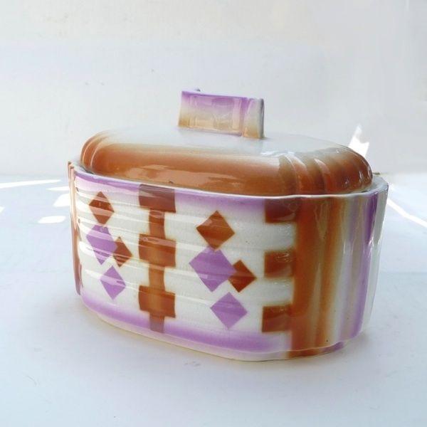 Spritzdekor Keksdose, Carstens Elsterwerda, Art Deco