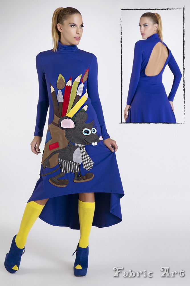 "Turtleneck dress with open back detail and handmade applique ""Mouse with bag of pencils and brushes"". The applique consists 51 pieces of fabrics."
