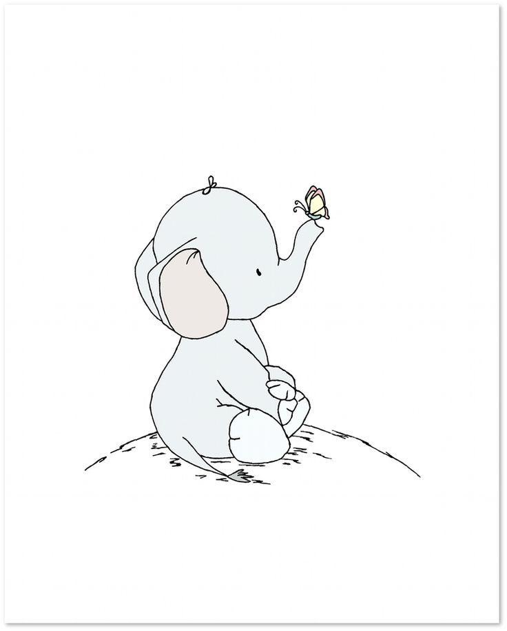 Elefant Kinderzimmer Kunst Elefant Und Schmetterling Gross Und