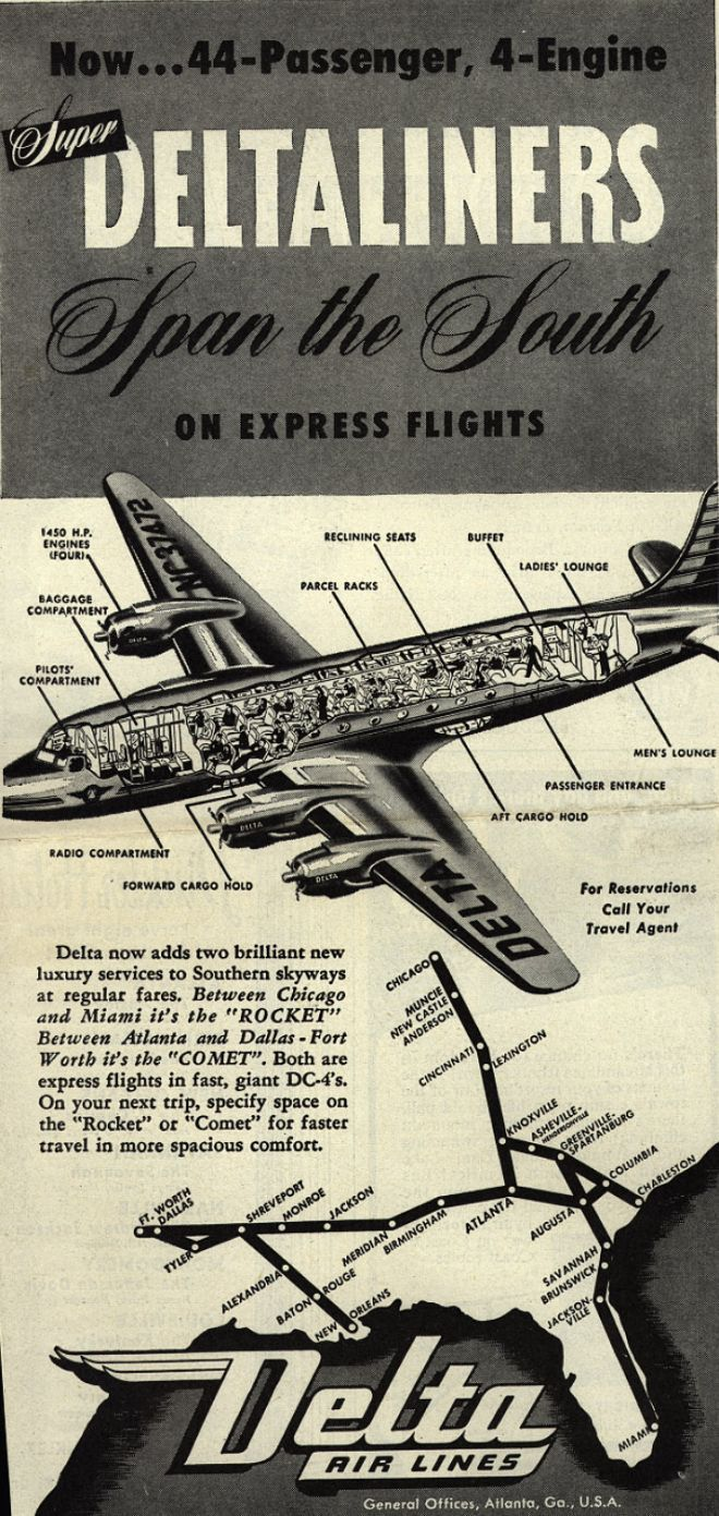 Delta Airline S Rocket And Comet Planes Now Super Deltaliners Span The South On Express Flights