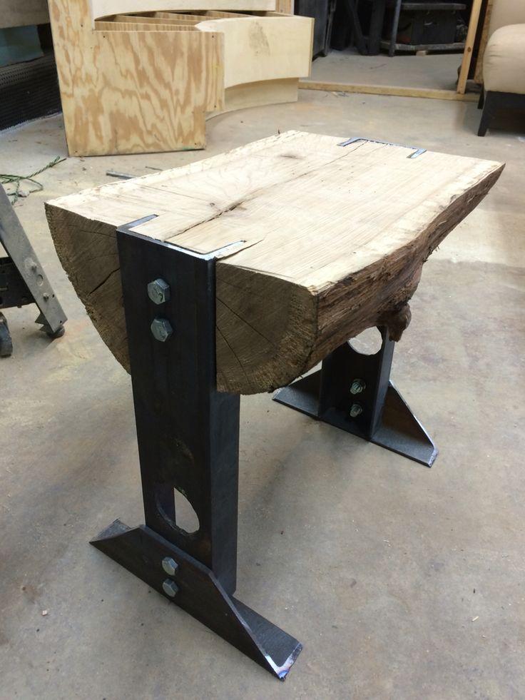 Oak & Metal Stool #SolracWoodworks