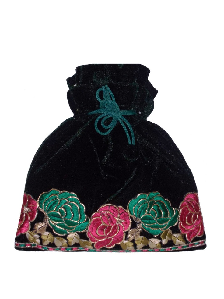 Green velvet potli with embroidered green and pink roses