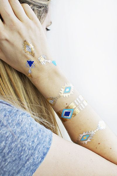 Get a head start on summer vibes with metallic temporary tattoos in gold and turquoise!