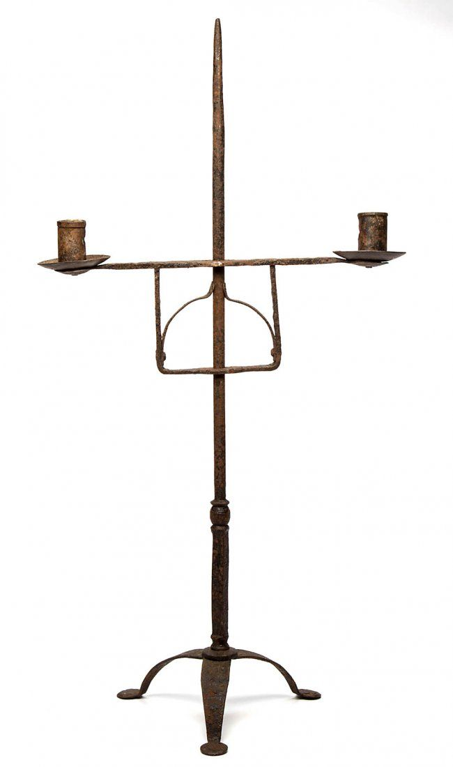 WROUGHT IRON TABLE TOP CANDLE STAND, Tapered Shaft Supporting An Adjustable  Friction Grip