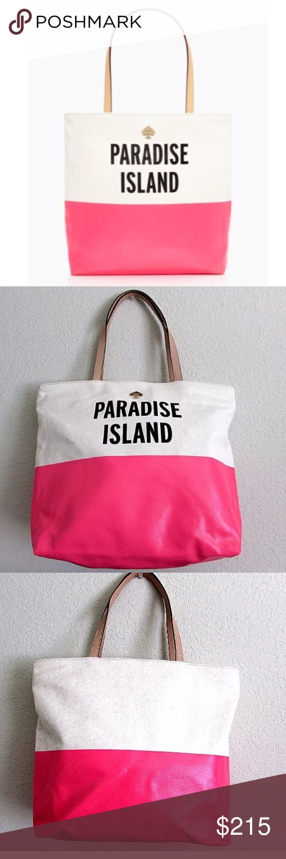 """🆕 Kate spade paradise island SPG tote purse bag Authentic Kate Spade for Starwood Preferred Guest (SPG) limited edition tote bag.  The tote was produced in limited quantities, sold through a few select stores and is long sold out.  This particular bag reads """"PARADISE ISLAND"""" and was one of four specialty bags produced for the collaboration. Brand new without tags or anchor keychain. kate spade Bags Totes"""