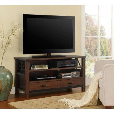 Ameriwood Home Buchannan Ridge TV Stand for TVs up to 50 inch Wide, Dark Cherry, Red
