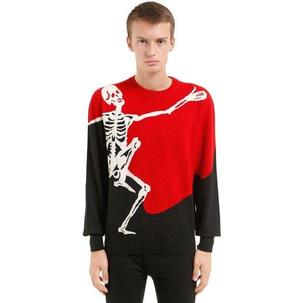 Alexander Mcqueen Men Dancing Skeleton Intarsia Wool Sweater (12.626.280 IDR) ❤ liked on Polyvore featuring men's fashion, men's clothing, men's sweaters, mens wool sweaters, men's wool crew neck sweaters, mens crew neck sweaters, mens crewneck sweaters and mens woolen sweaters