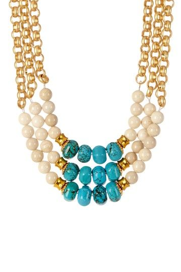 Triple Strand Gold & Turquoise Necklace by mariechavez on @HauteLook