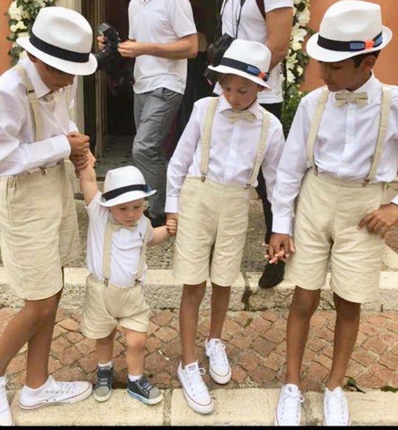 Beach Wedding Outfit Ring Bearer Outfit Baby Wedding Outfit Tan Wedding Suspenders Tan Beige Khaki Boys Bow Tie Set Page Boy Outfit