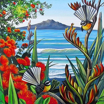 Little Piwakawaka (fantails) dart amongst the flax and Pohutukawa with the stunning backdrop of Rangitoto, Auckland. Original by Irina Velman - cards available from Image Vault and stockists nationwide (NZ). www.imagevault.co.nz