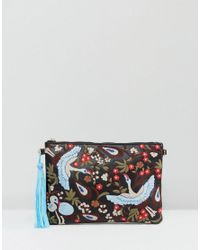 Yoki Fashion | Blue Yoki Embroidered Bird And Floral Clutch Bag With Tassel Detail | Lyst