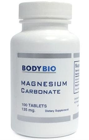 BodyBio Magnesium Carbonate 100 Tablets - 135mg