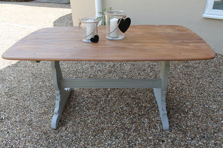 Ercol table - stripped elm with antique oil and Annie Sloan Paris Grey base - SOLD
