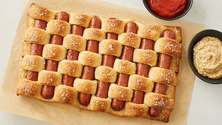 A fun and easy weave of hot dogs and crusty French bread strips.