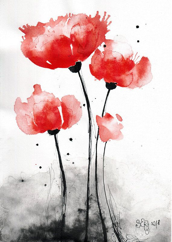 Poppy Painting 8x12in Canvas Abstract Watercolor Flower Poppies