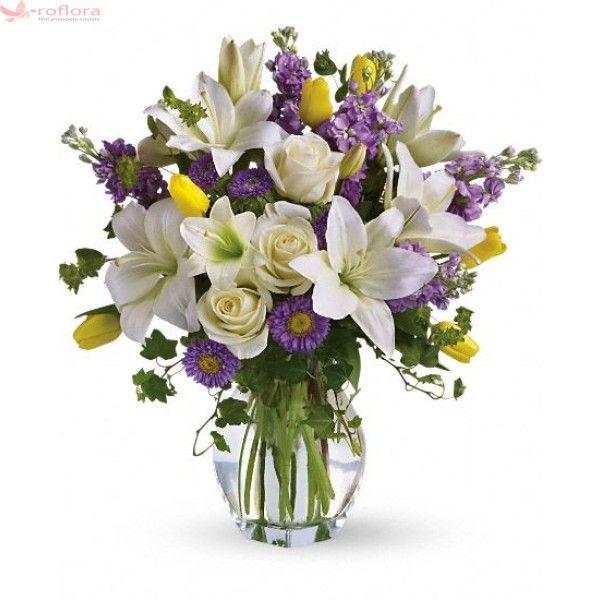 Vals de primavara - Buchet din crini, trandafiri, lalele