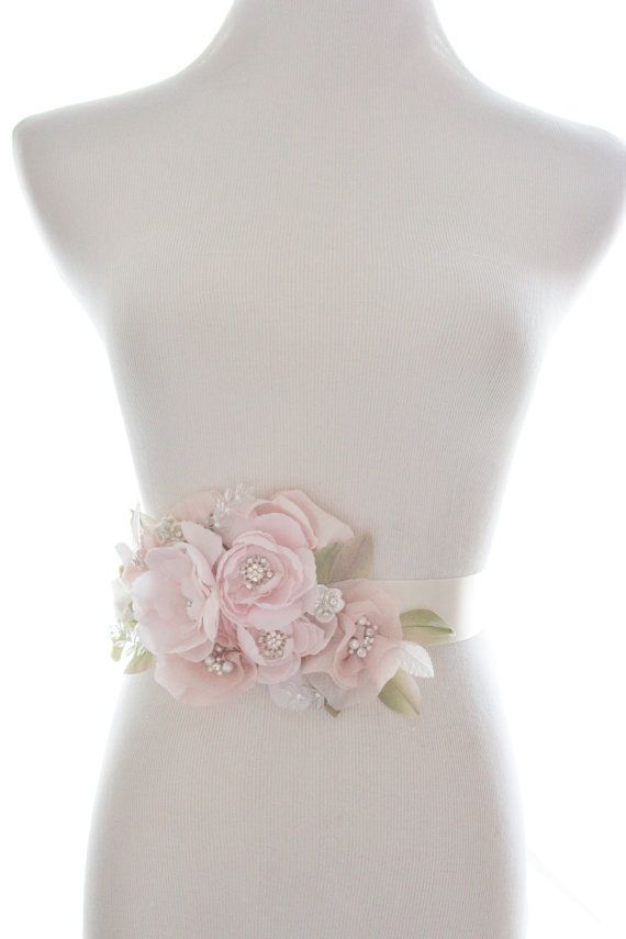 Whimsical crystal flower sash, organza rhinestone belt, bridal belt, rhinestone wedding sash