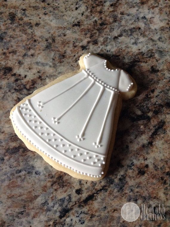 Elegant White Baptismal Gown Sugar Cookies by MegCobbCreations