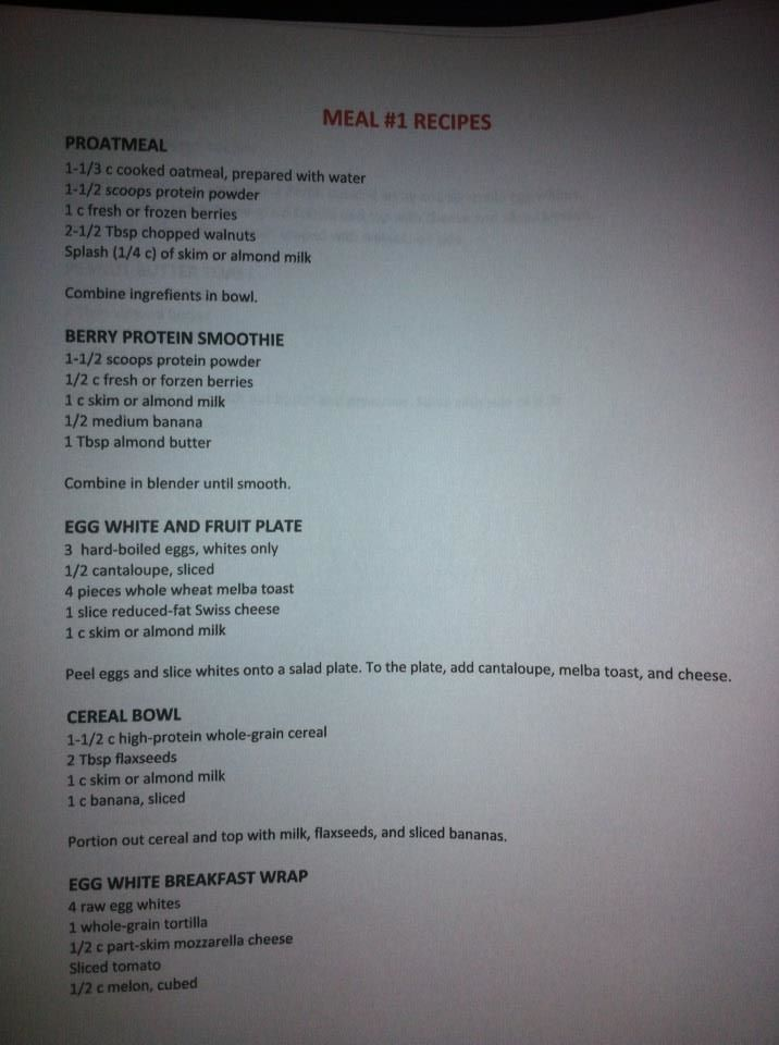 INSANITY THE WORKOUT WEEKLY MEAL PLAN #1 RECIPES