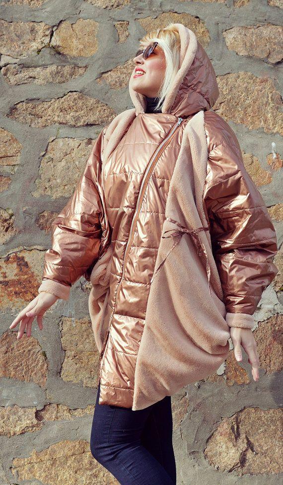 Bronze Cocoon Jacket / Extravagant Bronze Coat / Bronze Cocoon Hooded Jacket with Fur Inset TC84 JAZZ UP!