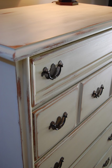 Vintage solid maple chest, painted with Annie Sloan chalk paint in Country Grey and distressed.