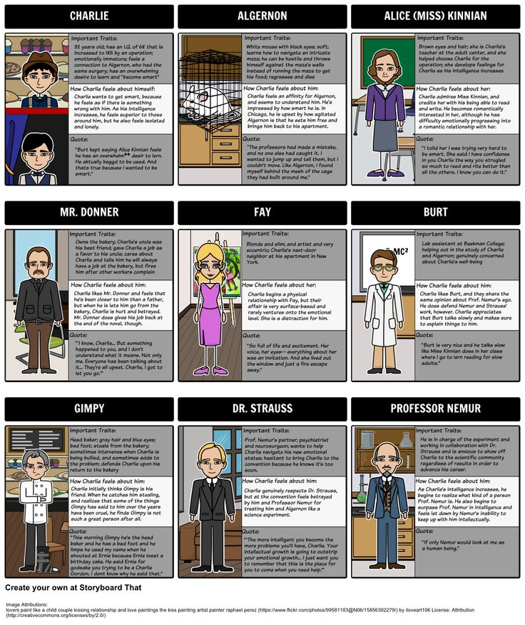 Flowers for Algernon - Character Map: As students read, a storyboard can serve as a helpful character reference log. In this activity, students will create a character map for Flowers for Algernon to portray character development throughout the story.