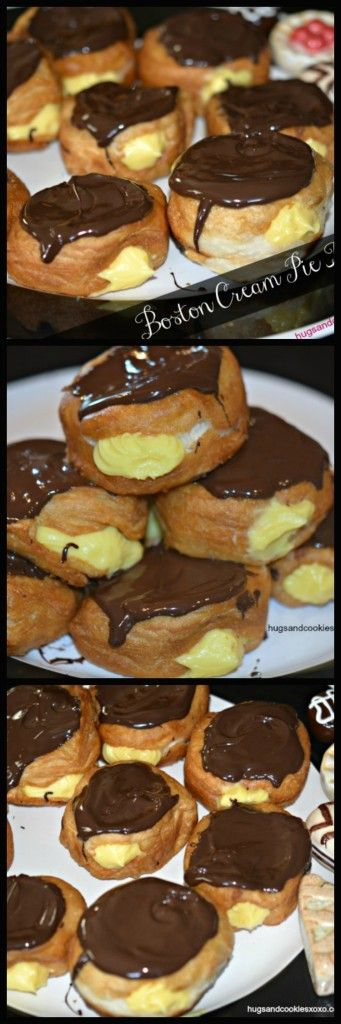 Love Boston Cream Pie? This was a FUN treat to make!!! Using Pillsbury Grands allows you to eat mock donuts in just minutes. All of the flavor with none
