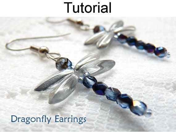 Dragonfly Earrings Beading Pattern, PDF Tutorial, Beaded Dragonflies, Bead Patterns, Dragonfly Jewelry, Beading Tutorials, Instructions #371...