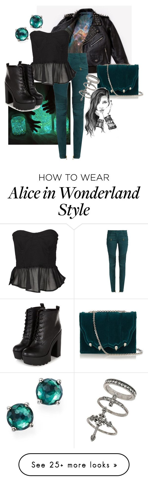 """""""Untitled #86"""" by kateravnjak on Polyvore featuring Balmain, Alice In The Eve, Marco de Vincenzo, Miss Selfridge, Ippolita and GE"""