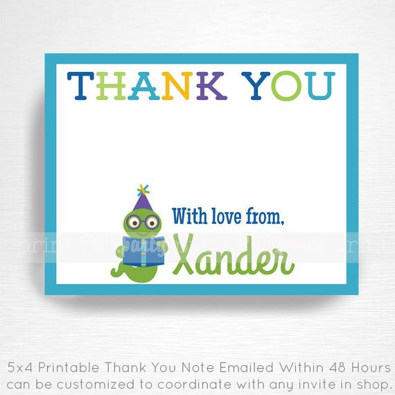 Bookworm Birthday Party Printable Thank You Note by Print POP Party    This is an emailed file, nothing will be shipped to you. Please include your