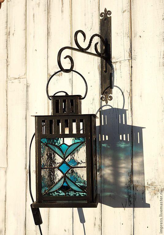 Купить фонарь витражный Синий Иней с кронштейном - фонарь, Витраж, Витраж Тиффани, предмет интерьера