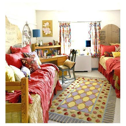 From Drab To Fab Dorm Room Makeover Hide Dorm Floors With A Colorful Rug Choose Textured Patterned Bedding To Hide Stains Headboard Made From Old Grain