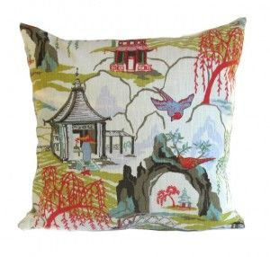 DwellStudios Pillow Cover Neo Toile Coral A stunning Chinoiserie toile print in beautiful colours