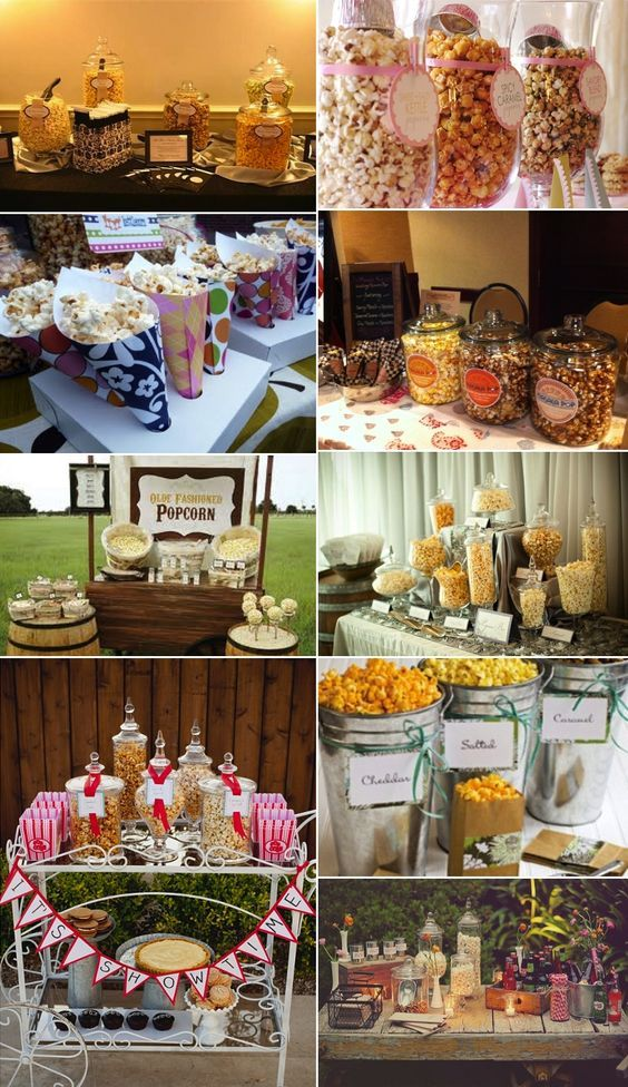 Popcorn bar... Good idea for a kids party or carnival themed party!
