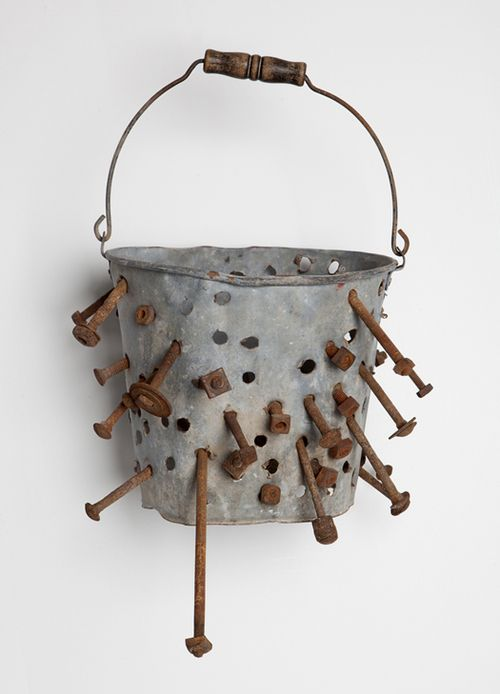 "jaume-pinya:    Improvised chimney cleaning device, c. 1940s, United States, galvanized bucket, wood, iron bolts, 13"" x 10"" diameter, collection of Rick Ege"