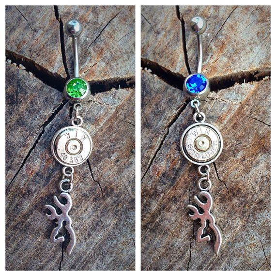 Bullet jewelry. Hunting belly button ring with browning deer on Etsy, $10.99