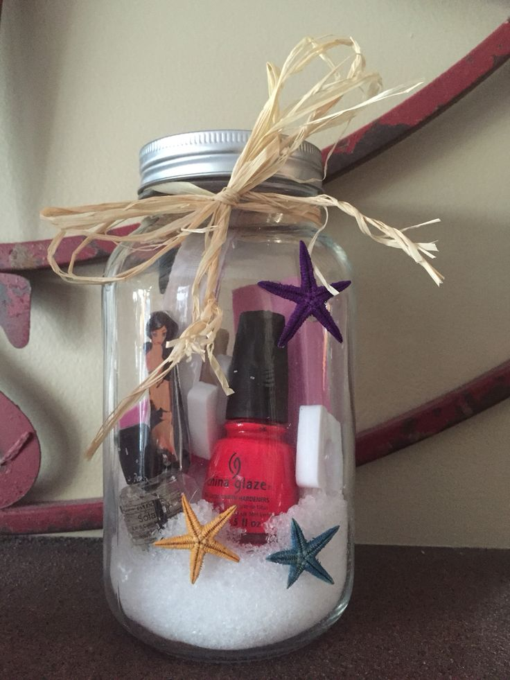 Bridal Shower Gifts and Prizes Beach themed spa jars.So fun!   Use a large mason jar, fill the bottom with bath salt or foot soak, clippers, nail polish, Polish remover, nail file, buffing block etc. Use hot glue to decorate the jars and some fun raffia or ribbon to trim the top.