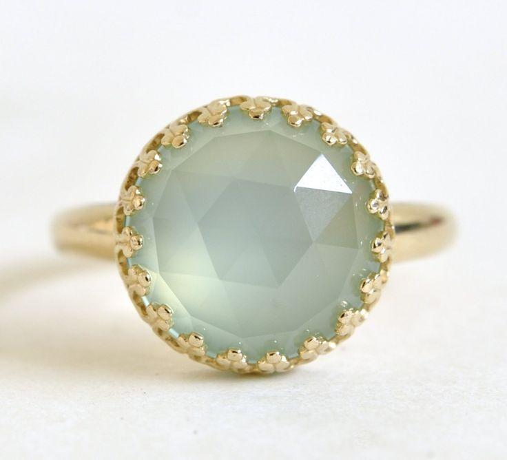 12mm Aqua Chalcedony and 14k Gold Ring: Handmade