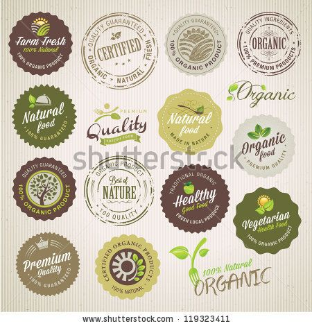 Organic food labels and elements by Varijanta, via ShutterStock