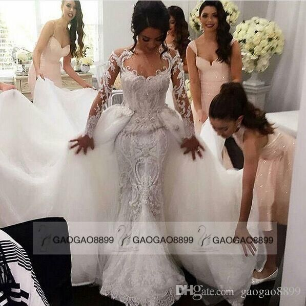 Detachable Skirt Long Sleeve Mermaid Wedding Dresses Luxury Beaded Amazing Embroidery Detail Crew Trumpet Dubai Arabic Wedding Gown Online with $314.14/Piece on Gaogao8899's Store | DHgate.com