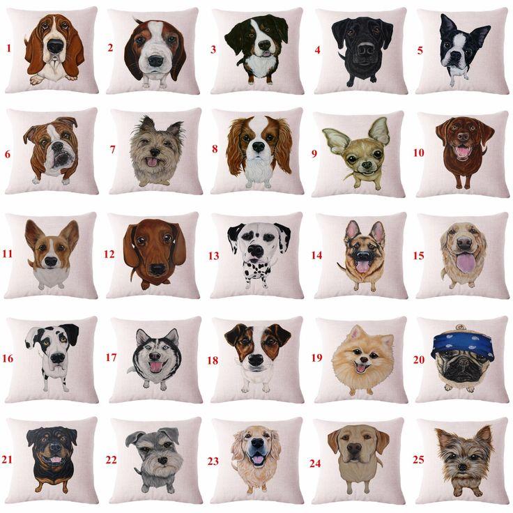 かわいい動物ペット犬柄クッション カバー用ソファ家の装飾almofadas 45 × 45 センチ装飾スロー枕ケース在庫